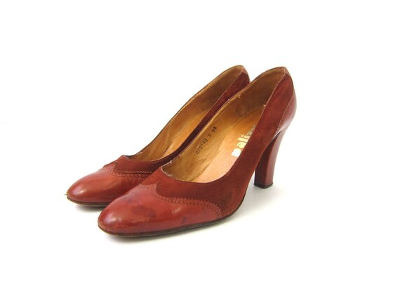 c19eb4581493 Brown Suede Leather High Heel Shoes Vintage 1970s Boho Sandals