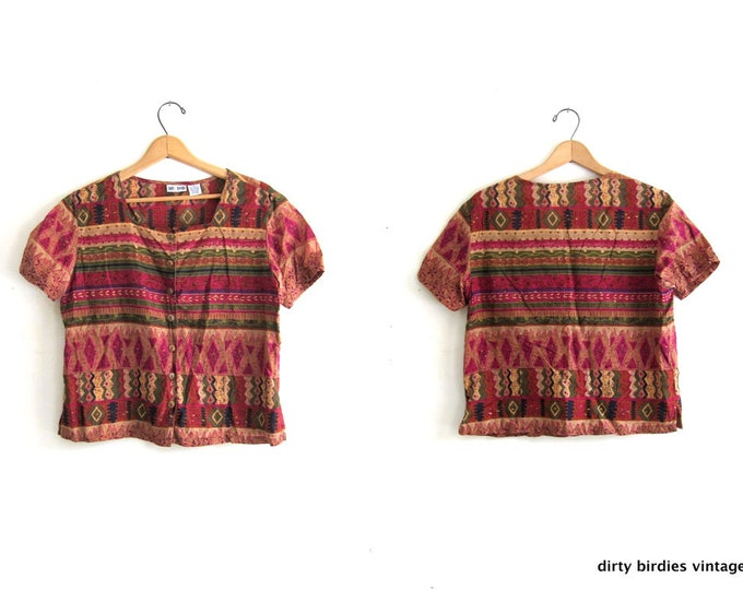 Tribal Print Top Colorful Boxy Shirt Vintage Minimal 90s Button Up Loose Fit Vacation Tee Vintage Pink Green Top Womens Medium