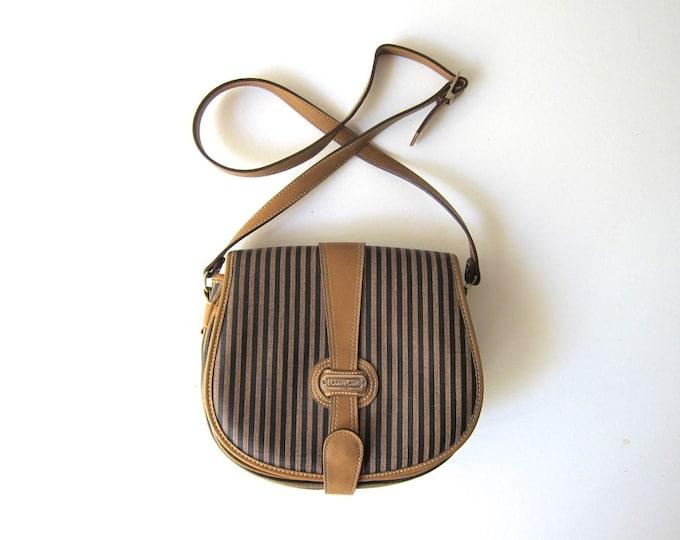 Vegan Brown Black Striped Purse Vintage 80s Minimal Cross Body Bag Shoulder Purse Modern Boxy Crossbody Purse Womens