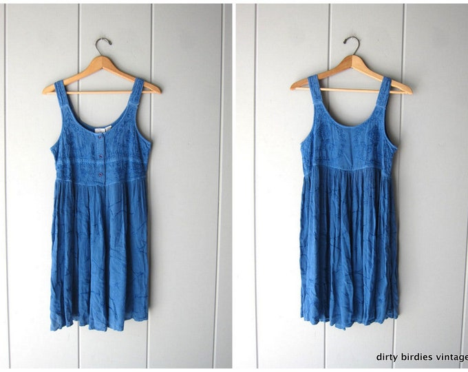 90s Blue Floral India Dress EMBROIDERED Baby Doll Mini Sundress BOHO Vintage Indian Hippie Dress Womens Small