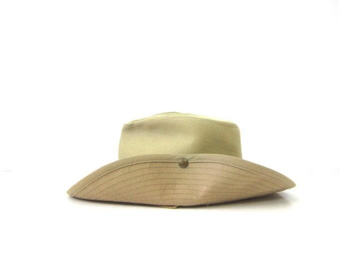 Khaki Safari Outback Hat 90s Men & Womens Hat Canvas Indiana Jones Cowboy Hat w Chin Strap Boho Rugged Sierra Club Sun Hat