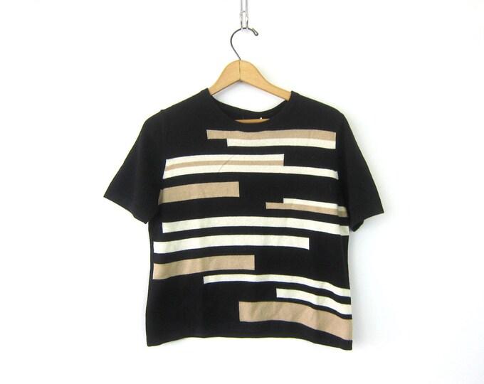 Silk & Cashmere Sweater Top Soft Short Sleeve Pullover Thin Knit Beige Minimal Sweater Boxy Shirt Vintage 90s Sweater Womens Medium