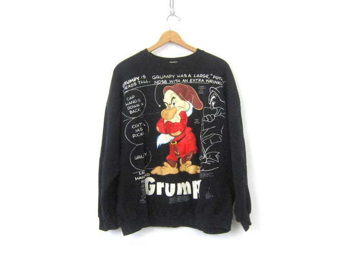 GRUMPY Dwarf sweatshirt slouchy sweater Disney Snow White Seven Dwarves Sweater Oversized Cartoon Novelty Top Women's Size 2X 3X