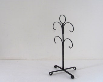 25% OFF STOREWIDE! Vintage 1970s black metal mug tree hanger / perfect for jewelry, necklaces, etc