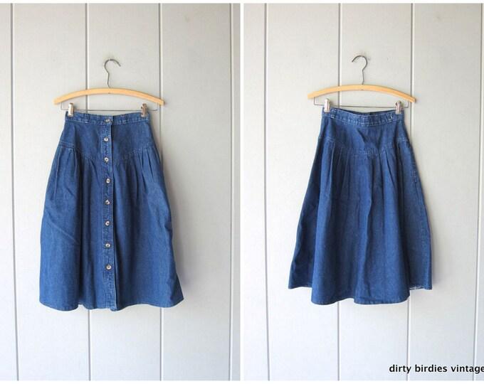 80s Button Front Jean Skirt | Blue Denim Chore Skirt Bohemian Cowgirl Midi Skirt High Waist Hippie Skirt Women's XS