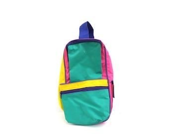 90s Colorblock Dopp Kit Bag Pouch Travel Kit Zipper Retro color block shaving bag Makeup Storage Vintage Nylon Toiletry Pouch