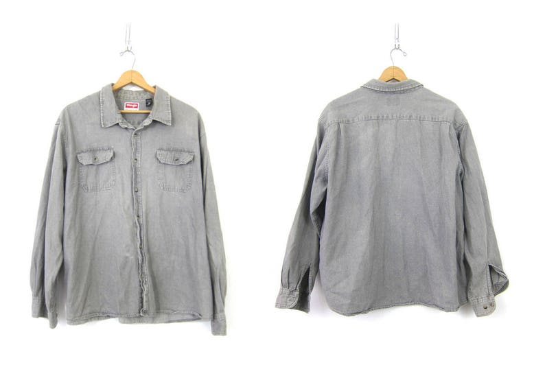 dc4524c66 Vintage Wrangler Jean shirt Oversized button down Distressed GRAY Denim  Boyfriend Rugged Casual Shirt Mens Size 3X