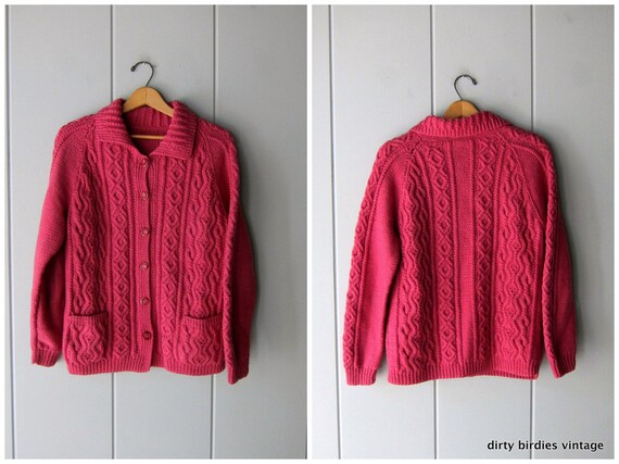 6584bfaef Pink Wool Cardigan Sweater Chunky Knit Button Up 60s