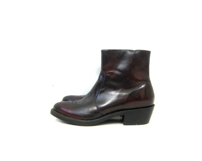 Vintage men's Dark Red Boots leather Durango western ankle boots pointy toe Side Zipper Boots Men's Size 10.5 D