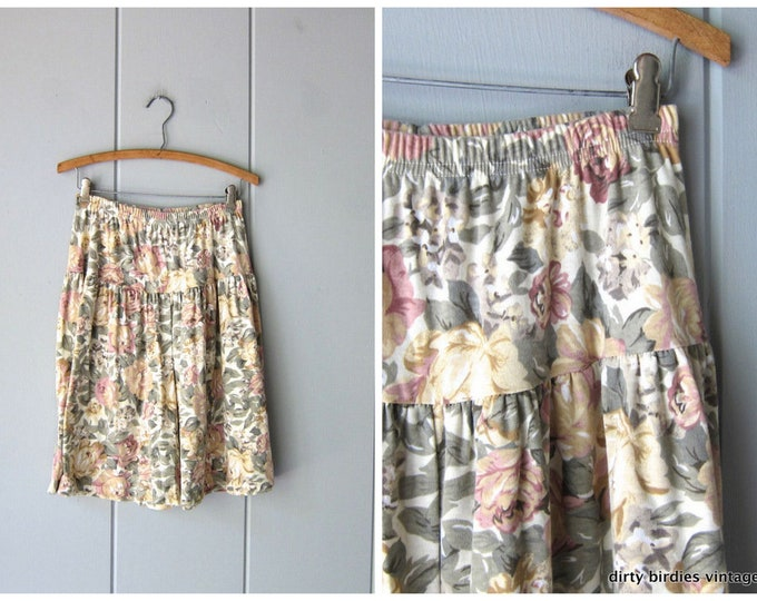 80s Floral Fabric Shorts Preppy Shorts Pastel Flower Print Cotton Shorts Elastic Waist Skort Shorts Vintage Womens Medium Large