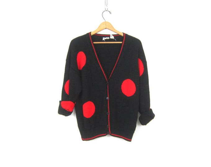 80s Polka Dot Sweater Vintage Retro Red and Black Button Up Sweater Knit Cardigan Sweater Casual Urban Streetwear Womens Medium Large