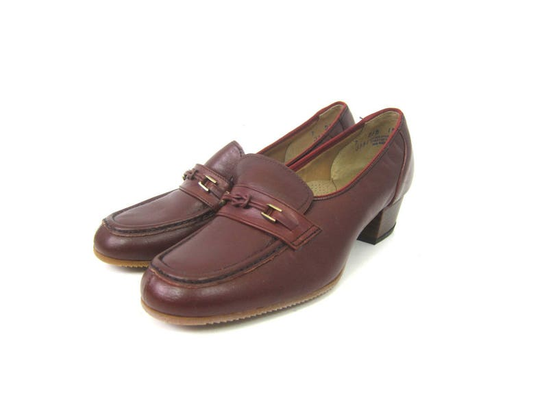 179da3a0c85d Vintage 70s Red Brown Leather Shoes with Braid and Chunky