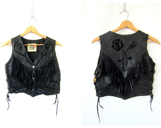 Fringed 80s Leather Vest Vintage Black ROSES Leather Punk Rocker Western Sleeveless Jacket Snap Up Cropped Biker Vest Hipster Womens Medium