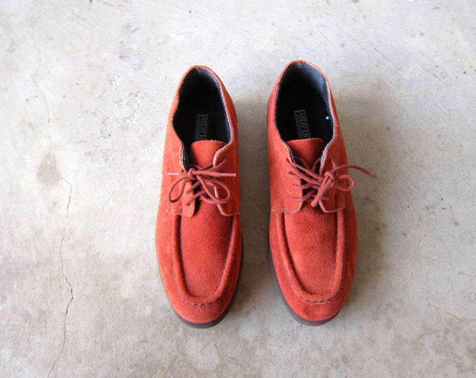 AMAZING Vintage Oxfords Suede Loafers Terra Cotta Penny Loafers 80s Lace Up Suede Shoes Lands End Brogues Hipster Preppy Booties Womens 7.5