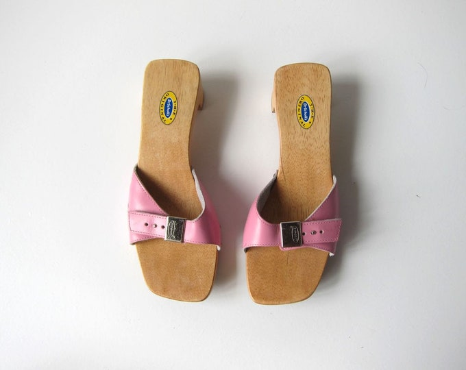 Pink Leather Wooden Mules