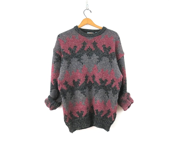 Purple Gray Chunky Sweater 90s Vintage Sweater Preppy Pullover Sweater Jumper size Large