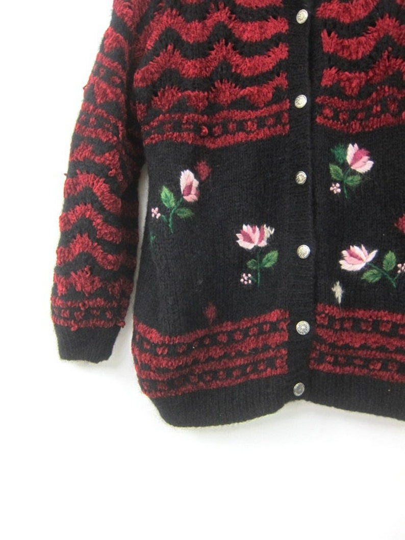 Long Knit Sweater Coat Fall Button Down Sweater Jacket 1990s Cocoon Sweater Button Up Floral Knit Jacket Vintage Sweater Womens Size Large