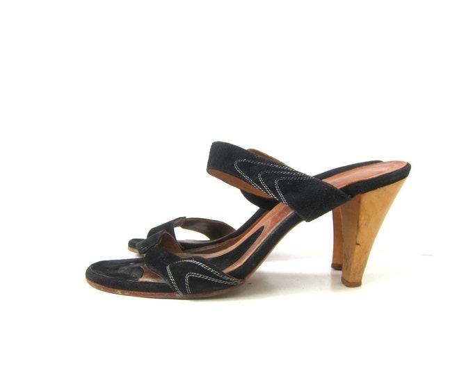 Black Leather High Heels Wooden Sandals Slip On Flip Flops Vintage Boho Shoes Wood Heels women's SIZE 7 N Narrow