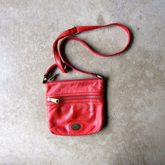 b6a8a43d30 Red Leather Fossil Purse Boho Bag Cross Body Shoulder Bag 90s