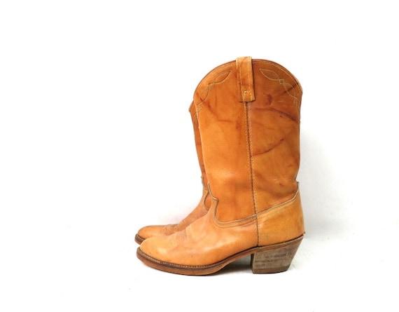 1980s Vintage Tan Leather Look Boots DINGO ACME C… - image 2