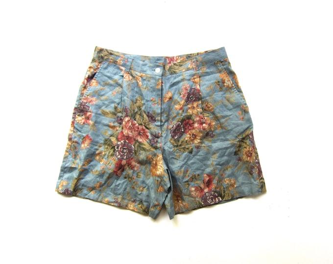 90s Linen Floral Shorts