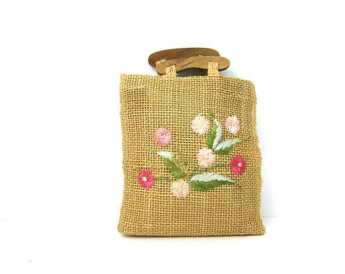 Raffia Twine Purse Natural Market Bag Straw Beach Bag with Wooden Handles Jute Twine Tote Bag Bohemian Natural Hippie Top Handle Bag