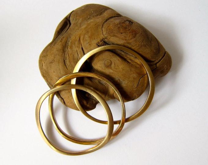 3 Brass Bangle Bracelets