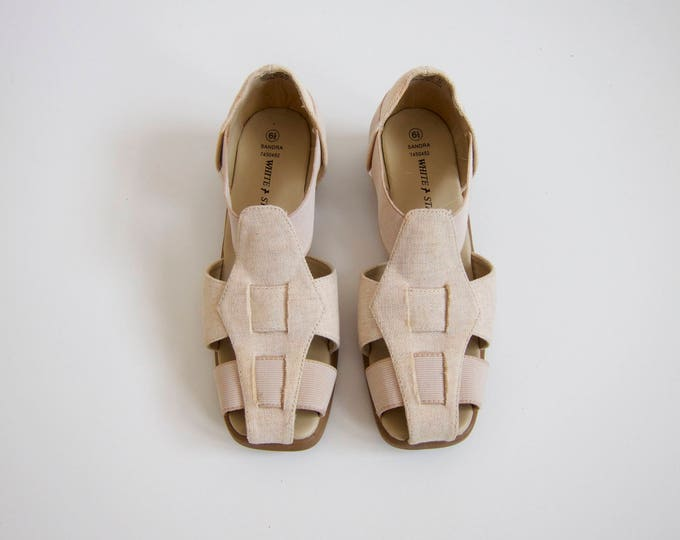 Natural Canvas Wedge Sandals | 6.5