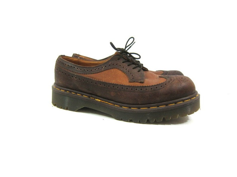 861628575cc Doc Martens Shoes Two Tone Brown Tan Leather Oxfords Chunky