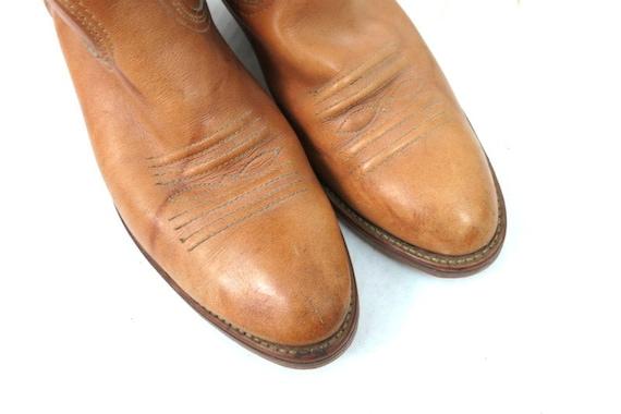 1980s Vintage Tan Leather Look Boots DINGO ACME C… - image 5