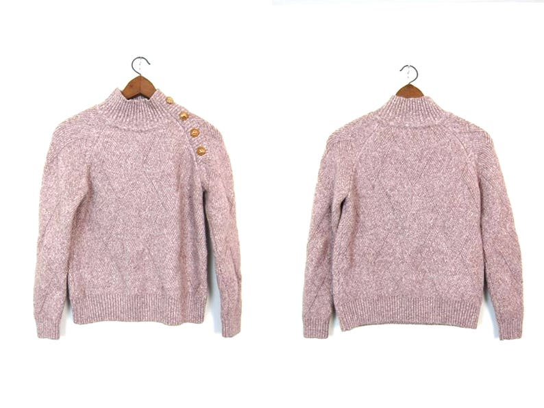 d269b0eac 80s Soft Knit Sweater Top Minimal Natural Preppy Mock Neck Sweater with  Gold Side Buttons Womens Medium
