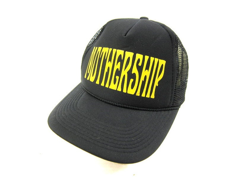 Vintage MOTHERSHIP Trucker Hat Black and Yellow Semi Truck Cap Snapback Hat  Retro 80s Net Hat Farmer Cap snap back Hat Size One Size OSFM