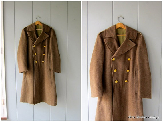 50s Wool Army Trench Coat Long Green Coat Military