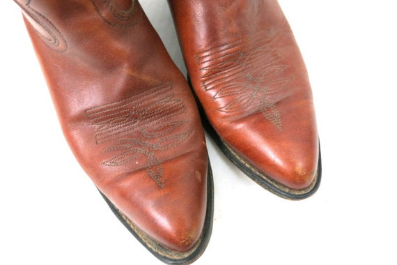 1980s Vintage Brown Leather Look Boots DINGO ACME… - image 4