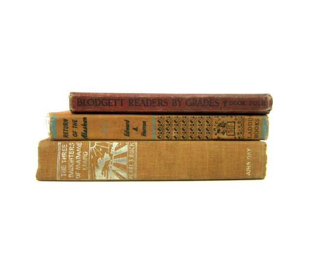 Antique Orange Brown Book Decor Hardcover books 3 Book Collection Vintage Paper Ephemera Blodgett Readers Return of the Alaskan