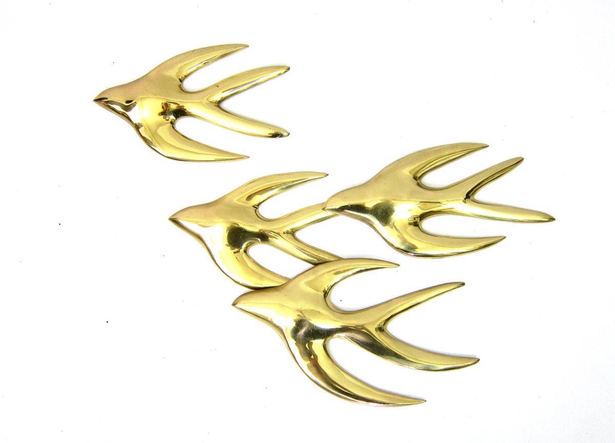 Vintage set of flying birds Gold Metal SEAGULLS modern wall art ...