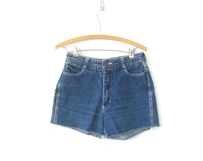 80s Blue Jean Shorts High Waist Cut Off Bon Jour Denim Shorts Vintage 1980s MOM Shorts Frayed Hipster Boho Womens Size 28 inch waist Small