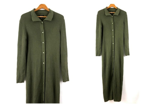Long Green Cardigan Sweater Simple Button Up Sweat