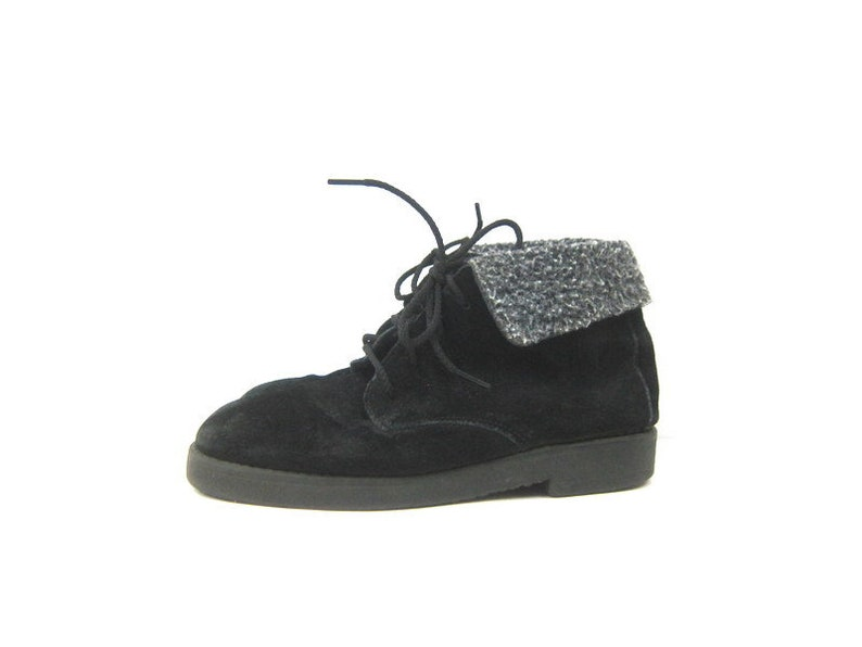 Vintage black Suede leather ankle boots 1980s PIPPI Lace up boots Winter Snow Booties Fleece Cuff boots women/'s shoes size 7