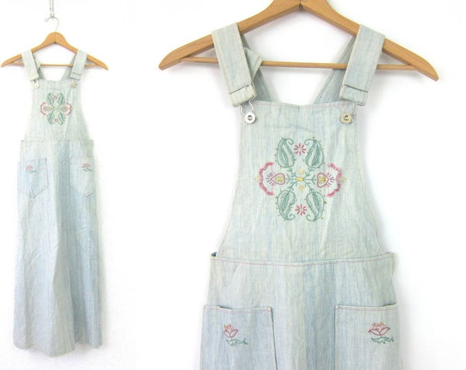 Soft Denim Bibs Dress Vintage 1970s Jumper Bibs POCKET Dress Embroidered Long Hippie Festival Dress MN Women's size medium large