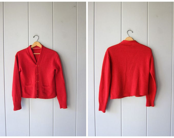 50s Red Wool Sweater Vintage Wool Button Up Cardigan Sweater Small Fit Cropped College Prep Varsity Sweater 1950s Basic Womens Small