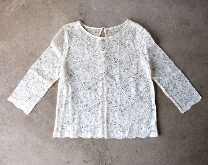 Lace Blouse 90s Victorian Sheer Cream LOLITA Edwardian Top Sexy Quarter Sleeve White Blouse Boho Secretary Goth Shirt Vintage Womens Medium