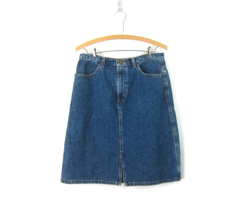 90s Jean Skirt Dark Wash Denim Skirt High Waist Skirt Vintage Women/'s size 10 Medium
