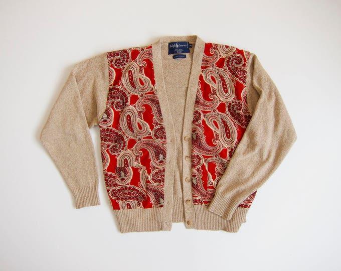 Silk Knit Sweater | Ralph Lauren Cardigan | 90s Paisley Block Print Sweater | Red Beige Button Up Sweater Top | Preppy Vintage Womens Medium