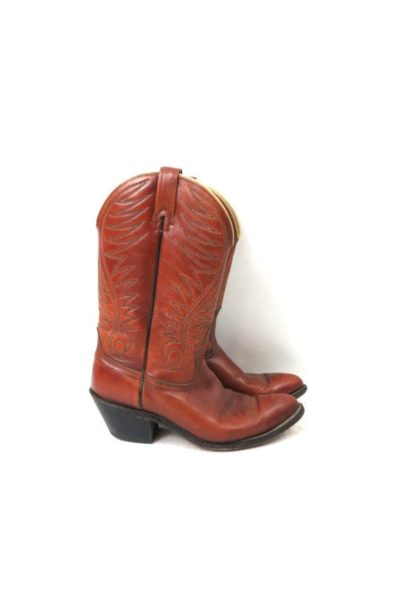 1980s Vintage Brown Leather Look Boots DINGO ACME… - image 2