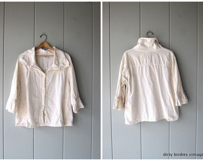 Oversized Cotton Jacket Slouchy White Button Up Jacket 90s Vintage Minimal Light Weight Cotton Coat Simple Basic Womens size XL
