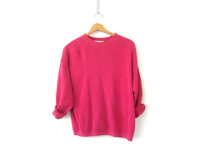 Baggy Pink Cotton sweater 1980s slouchy sweater Basic Casual Plain Pullover shirt Top Women's Size Large
