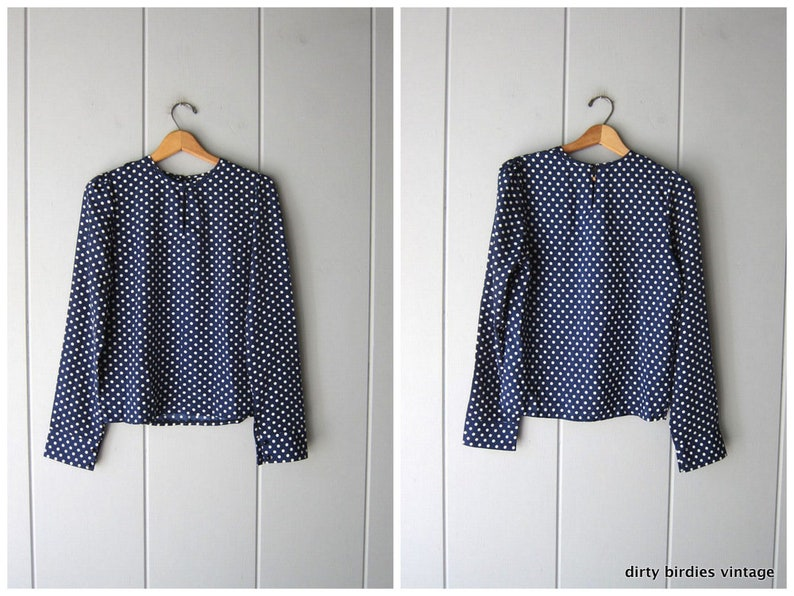 02a5a0b292823 Polka Dot Blouse Navy Blue & White Top Vintage 90s Blouse Long Sleeve  Casual Dotted Modern Shirt Secretary Blouse Womens XS/S