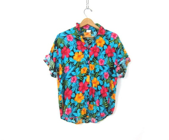 288b5fb5066 Blue Tropical Top Vintage 80s Flower Print Rayon Shirt Button