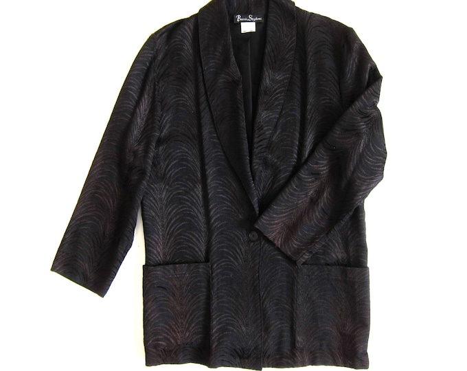 Black BROCADE Smoking Jacket | 80s Oversized Blazer | Slouchy Pocket Coat Womens 12 Large